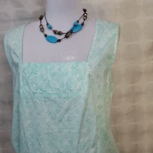 NWT J JILL AQUA BLUE SLEEVELESS ROUCHED TOP *548